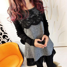 Spring Plus Size Long Sleeved Lace Maternity T-shirt