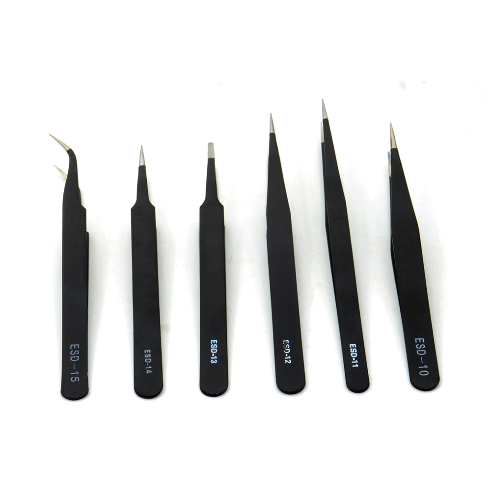 6PCS ESD Safe Anti-static Tweezers Set Maintenance Tools  Stainless Steel