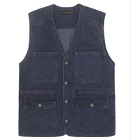 SHIERXI Male Denim Vests Men Vest Mens Outdoors Cotton Multi Pocket Sleevless Jean Jacket Men Jeans Masculino