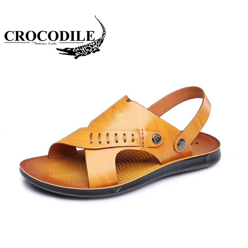 Crocodile Men Summer Leather Sandals Slippers Male Flat Sport Beach Shoes Men Shoes Sandals Footwear Water