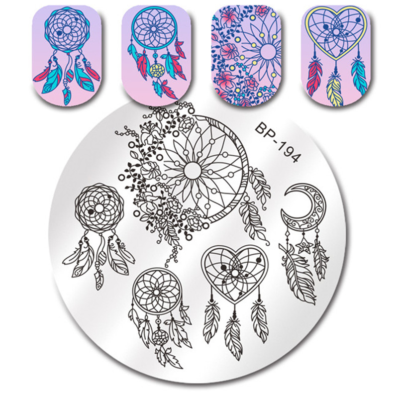 Geometric Reverse Stamping Nail Art Born Pretty Review: BORN PRETTY Dream Catcher Stamping Template Feather Heart