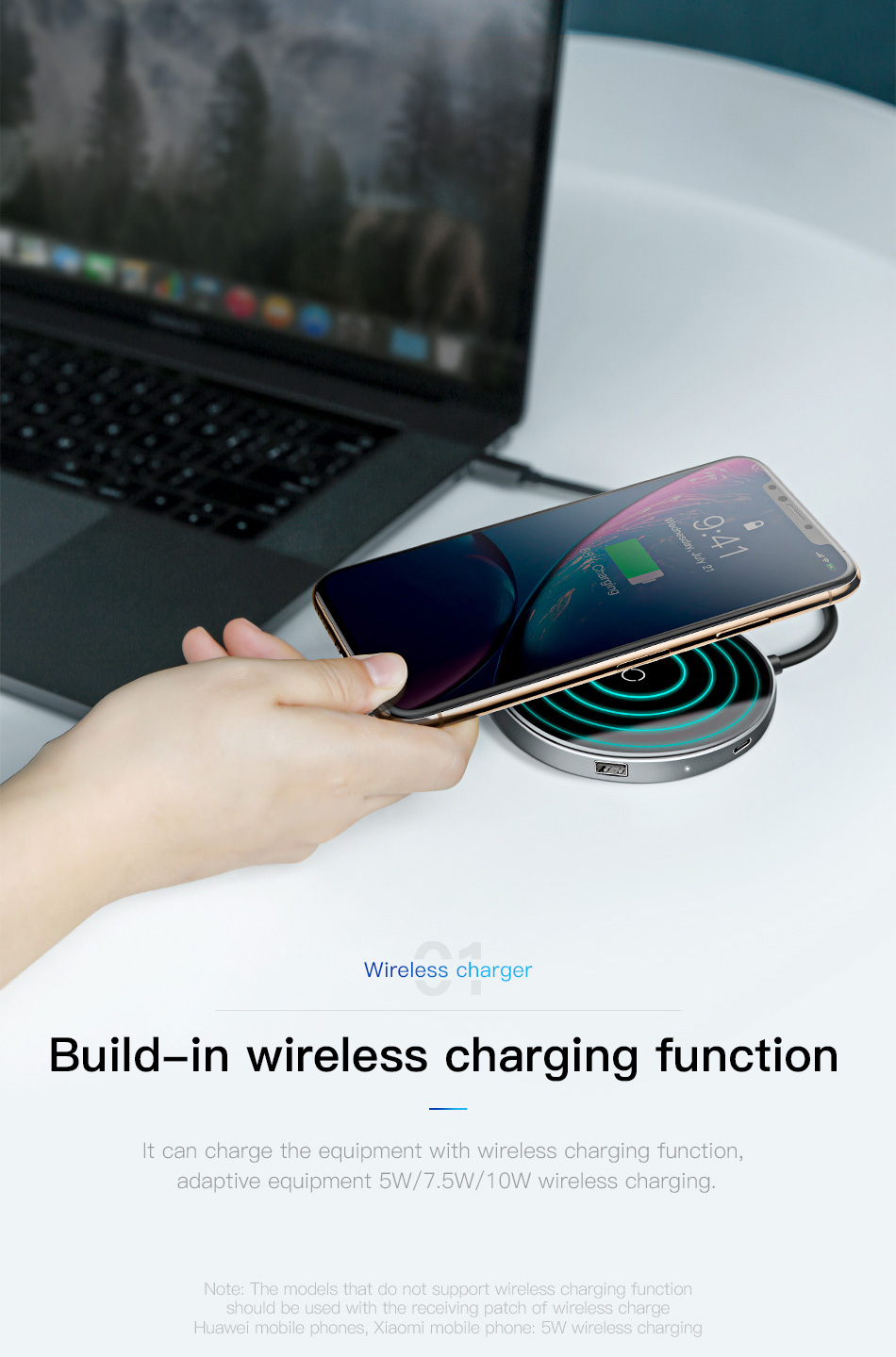 Baseus 6-in-1 Qi-Wireless-Charger USB-Hub