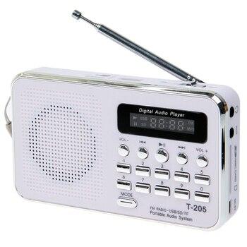 Портативная Hi-Fi Колонка T- 205, fm-радио, цифровая мультимедийная колонка, MP3 музыка, громкий динамик, белый, для кемпинга, пеших прогулок, спорта ...