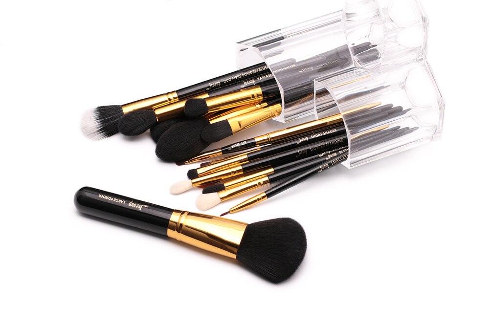 em pó fundação eyeshadow delineador lábio escova ferramenta preto ouro