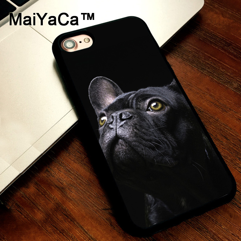 MaiYaCa Black French Bulldog Dog cover soft TPU Rubber Skin Mobile Phone case For iPhone 5s SE 5 funda Coque Back Shell
