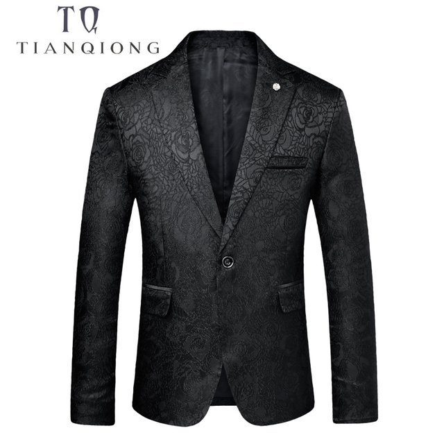 TIAN QIONG Floral Blazer Men 2018 Spring/Autumn Mens Blazers Black Blue Blazer for Men 3XL Wedding Prom Party Suit Jacket