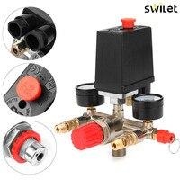 Professional Heavy Air Regulator Compressor Pressure Control Switch Valve With Pressure Monitor 90 120 PSI For Pump