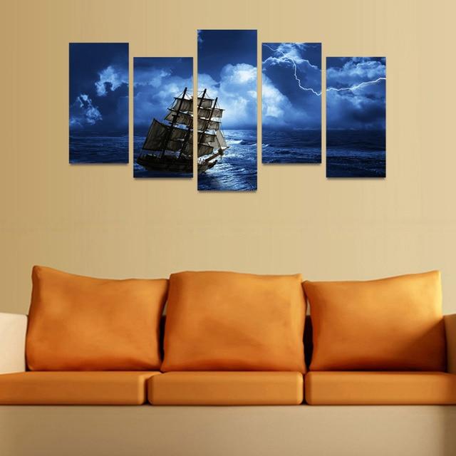 5 Panels Canvas Print Lightning Night Sky And Ship Painting Wall Art ...