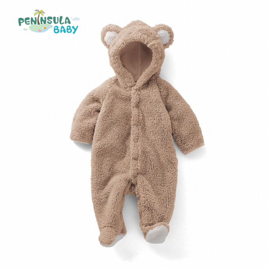 Newborn Baby Rompers Winter Toddler Clothing Coral Velvet Long Sleeve Hooded Infant Jumpsuit Cartoon Costume Clothes baby clothing winter autumn unisex newborn baby clothes100% cotton cartoon rompers long sleeve baby product baby clothing infant
