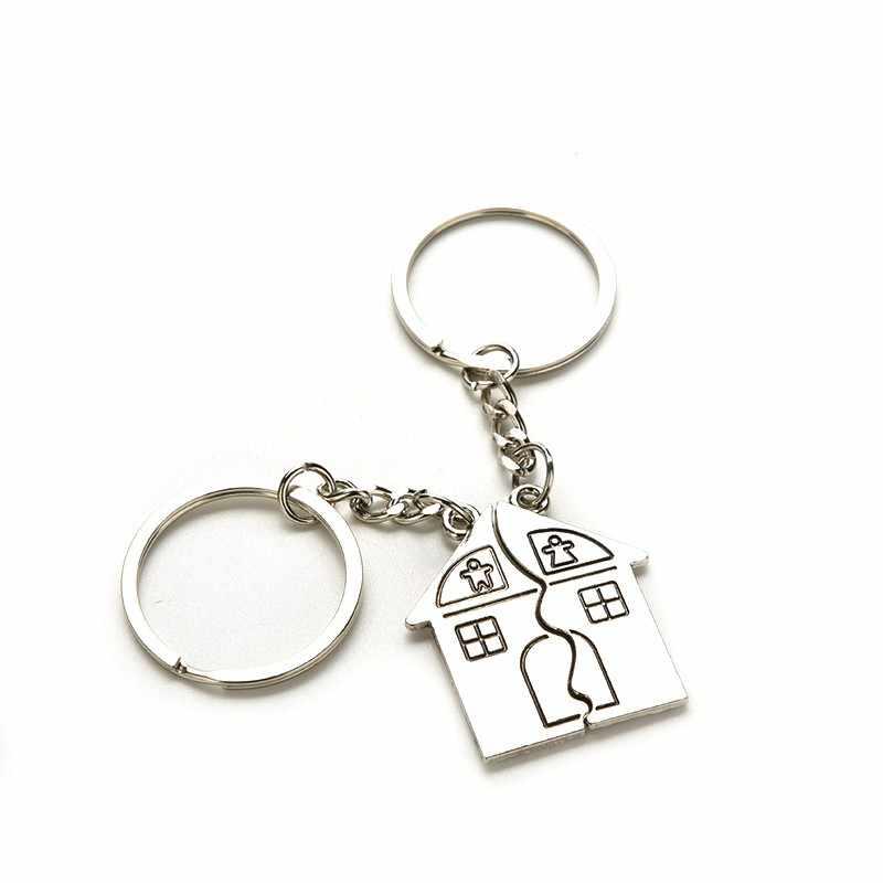 1 זוג מתכת אהבת זוג לב מיני Keychain מחזיק Chaveiro תיק קסם מפתח שרשרת תליון ילדה נשים מתנות לאורחים טובת מפלגה