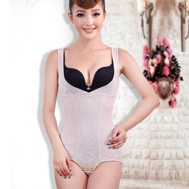 Las mujeres Más El tamaño de La Talladora Del Cuerpo Corsés de Cintura Floral Body Fajas Hebilla de la Ropa Interior de La Entrepierna de Alta elasticidad