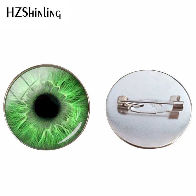 New Fashion Brooch Pins Glass Cabochon Beauty Punk Cats Eyes Jewelry Pin Coloful Eyes Glass Dome Brooches Men Women Gifts