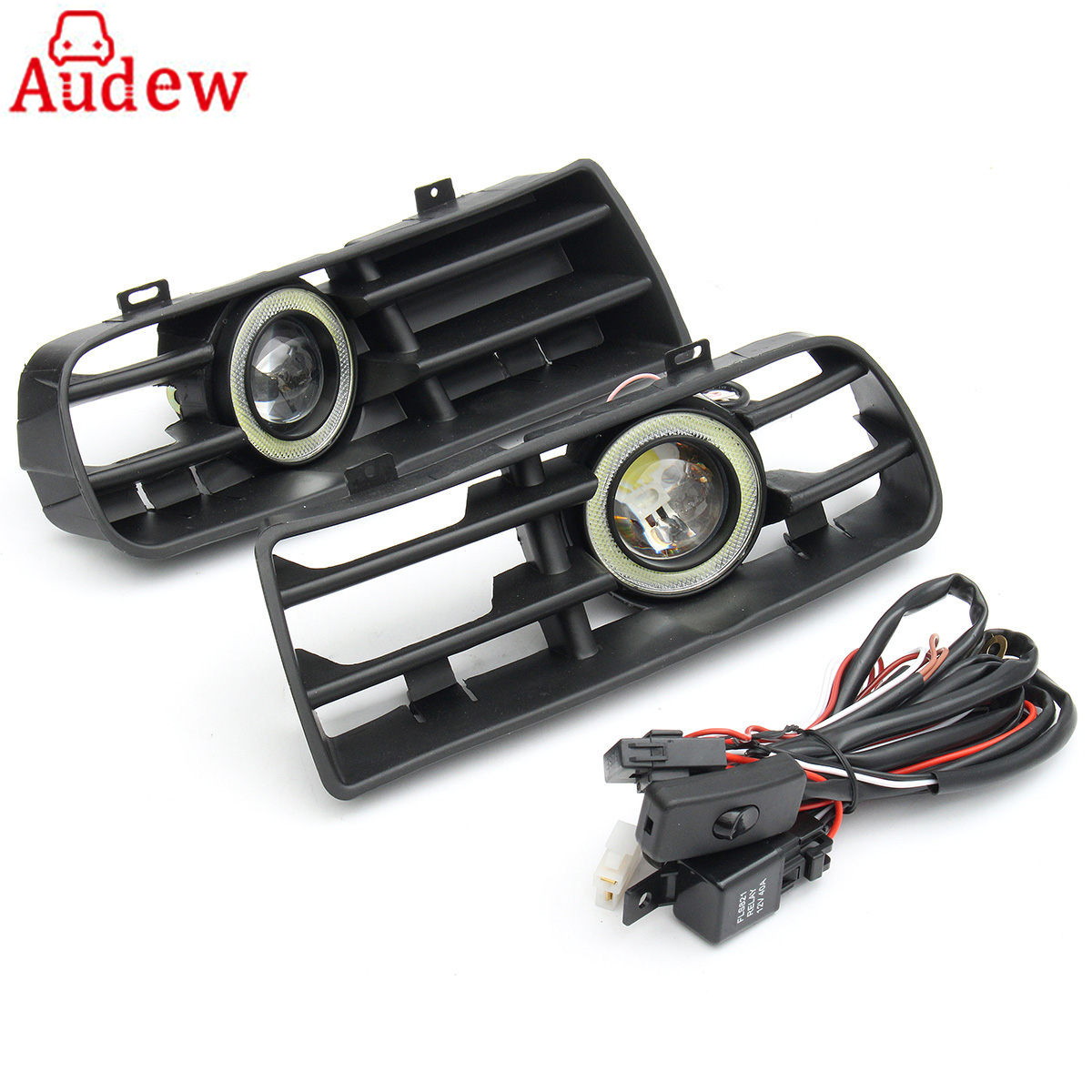 1Pair LED Fog Lights Angel Eyes Lamp Car Front Bumper Grille Grill Cover With Wire Kit For VW Golf MK4 98-04 for vw golf gti tdi r32 mk4 1998 2004 front bumper grill with led angel eyes fog lights switch wiring kit 9443