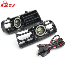 1Pair LED Fog Lights Angel Eyes Lamp Car Front Bumper Grille Grill Cover With Wire Kit For VW Golf MK4 98-04
