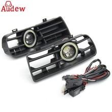 1 пара светодиодные фары Противотуманные Ангельские глазки лампа передний бампер автомобиля решетка гриль крышка с Провода комплект для VW Гольф MK4 98-04