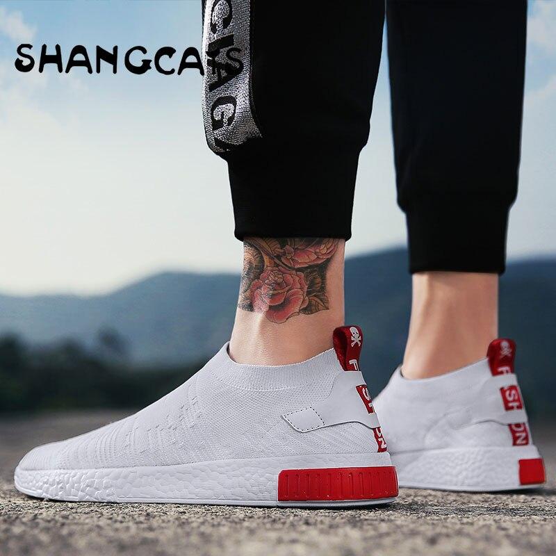 Mince Chaussures Pour Automne Blanc Chaussures Hommes Sneakers Adolescent Chaussures Sans Dentelle Tendance 2018 Nouvelle Sensation Chaussettes Chaussures tenis masculino chaussure