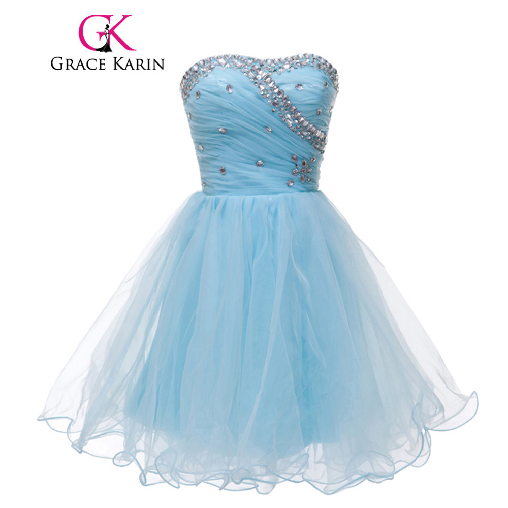 Grace Karin Cute Pink Blue White Black Short Prom Dresses Beading Sequin Voile Sexy Party Gown Ruched CL4503