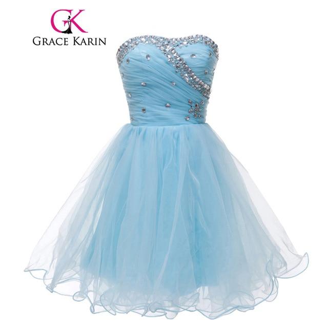 Grace Karin Cute Pink Blue White Black Short Prom Dresses Beading