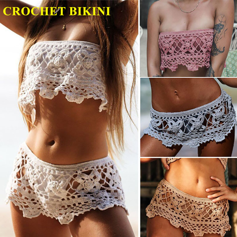 Dois Gancho Peito Sandy Oco Fora Saia Curta Mulheres Sexy Boho Praia Swimwear Crochet Fringe Bikini Halter Camisolas de Algodão