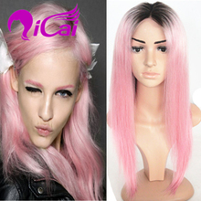 130% Density Cheap Pink Lace Front Wig Brazilian Virgin Human Hair Wig Straight Baby Hair Bob Ombre 2 Tone 1B Pink Full Lace Wig