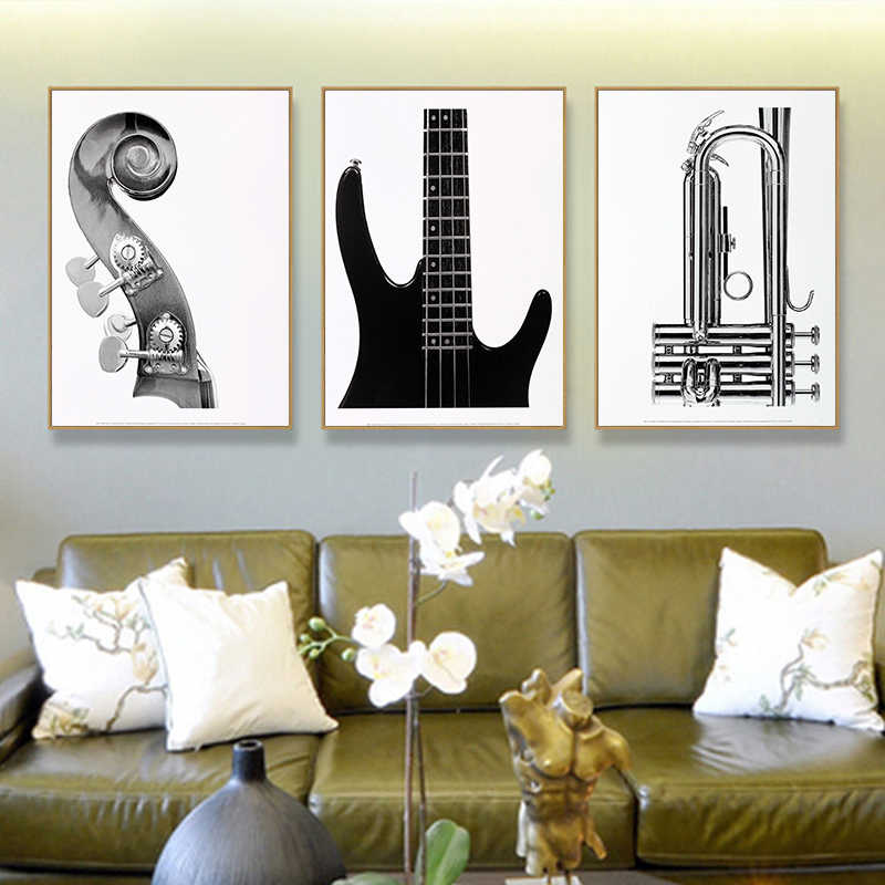 Vintage Wall Art Guitar Violin Canvas Painting Musical Instruments Posters Prints Wall Pictures For Retro Concert Decoration
