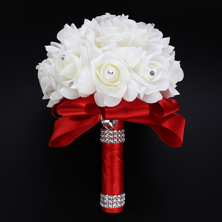 AYiCuthia Cheapest PE Rose Bridesmaid Wedding Foam Flowers Rose Bridal Bouquet Ribbon Fake Wedding Bouquet De Noiva 9 Color S30