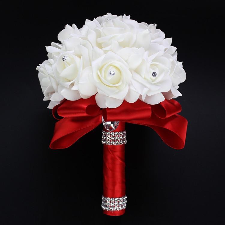 AYiCuthia Cheapest PE Rose Bridesmaid Wedding Foam flowers Rose Bridal bouquet Ribbon Fake Wedding bouquet de noiva 9 color S30