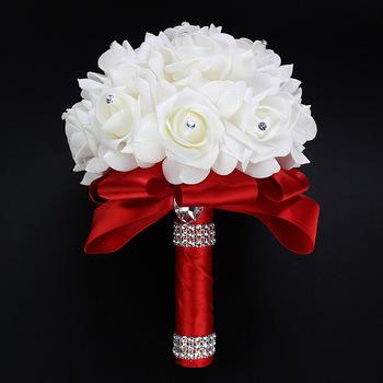AYiCuthia najtańszy pe róża druhna ślub kwiaty piankowe róża bukiet ślubny wstążka bukiet ślubny ze sztucznych de noiva 9 kolor S30 tanie i dobre opinie Poliester spandex Rayon Wiskoza SILK 24cm 18cm 0 1kg wedding flowers bridal bouquets wedding accessories