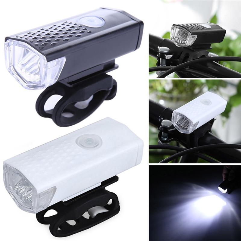 Water-Resistant Bike Front Light USB 300lm Super Bright 3 Modes Light For MTB Road Bike Bike(China)
