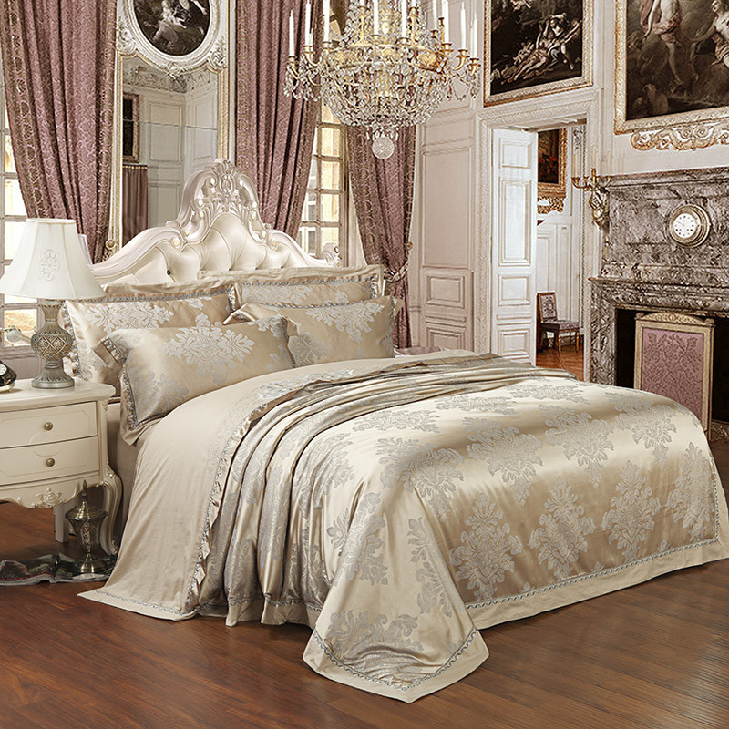 Silver Color Queen King size Bedding sets Stain Jacquard Luxury 4/6pcs Wedding Duvet cover Bed sheet set Fit sheet Bedlinen 28Silver Color Queen King size Bedding sets Stain Jacquard Luxury 4/6pcs Wedding Duvet cover Bed sheet set Fit sheet Bedlinen 28