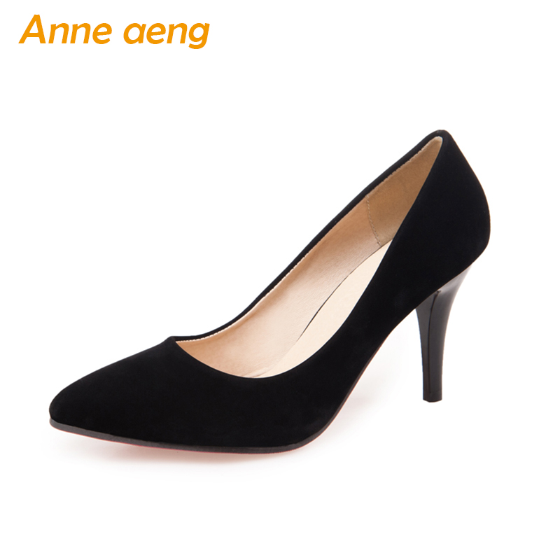 women pumps high thin heels pointed toe classic flock pumps elegant office lady black Red Beige women shoes big size 34-46 armoire 2015 new elegant women wedding pumps black red purple beige ladies high heels nude shoes ay018 plus big size 32 43 48