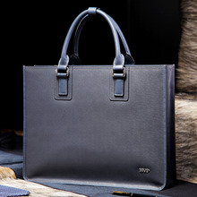 "BVP Hot Luxury Brand Genuine Leather Briefcases 14"" Laptop Briefcase Business Zipper Gary Handbag Soft Cowhide Bag T1011"