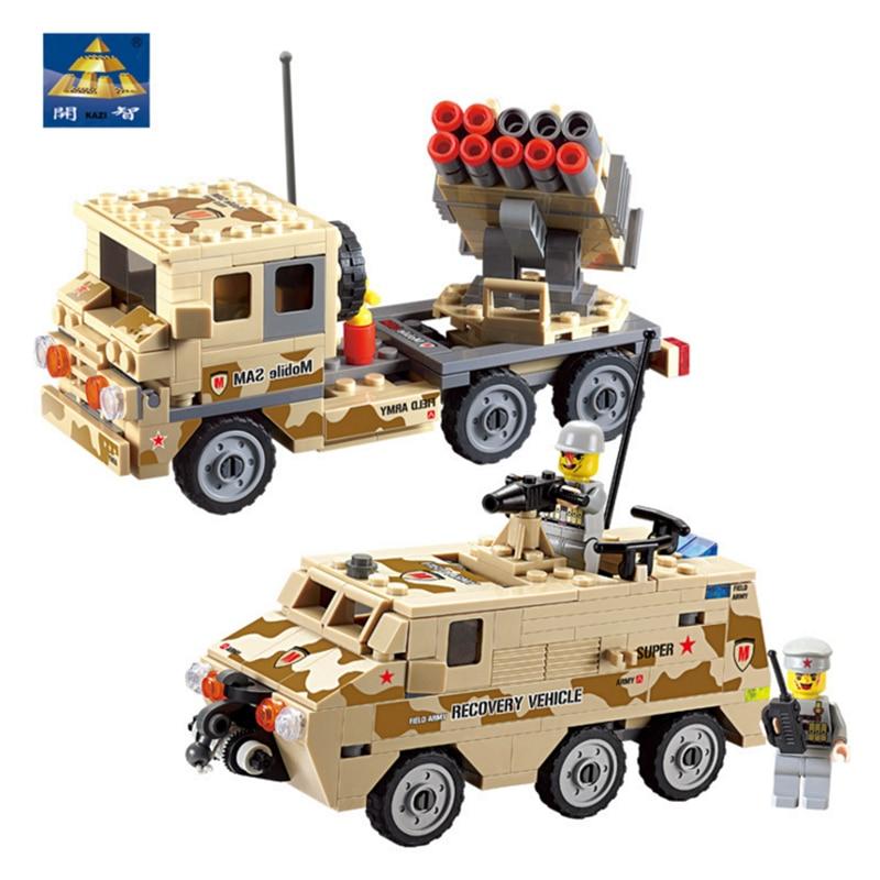 KAZI 4 stílusok katonai építőelemek páncélozott jármű teherautó világháború tégla modell blokk oktatási játékok kompatibilis a lego