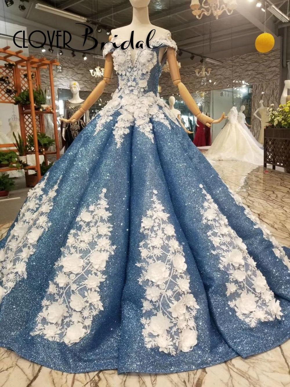 Glitter shinning ball gown bridal dresses 2018 glitter pool blue off ...