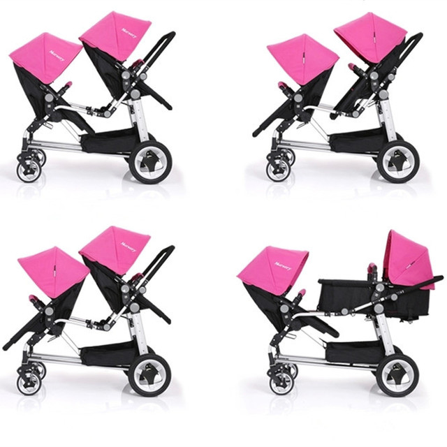 Promation Top Quality Baby Carriages for Twins Easy to Clean EVA Wheel Twins Infant Stroller Twins Pram Red Pink Green