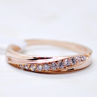 KNOCK Top Quality Simple Cubic Zirconia Lovers Rose Gold Color Wedding Ring Jewelry Full Sizes Wholesale 3