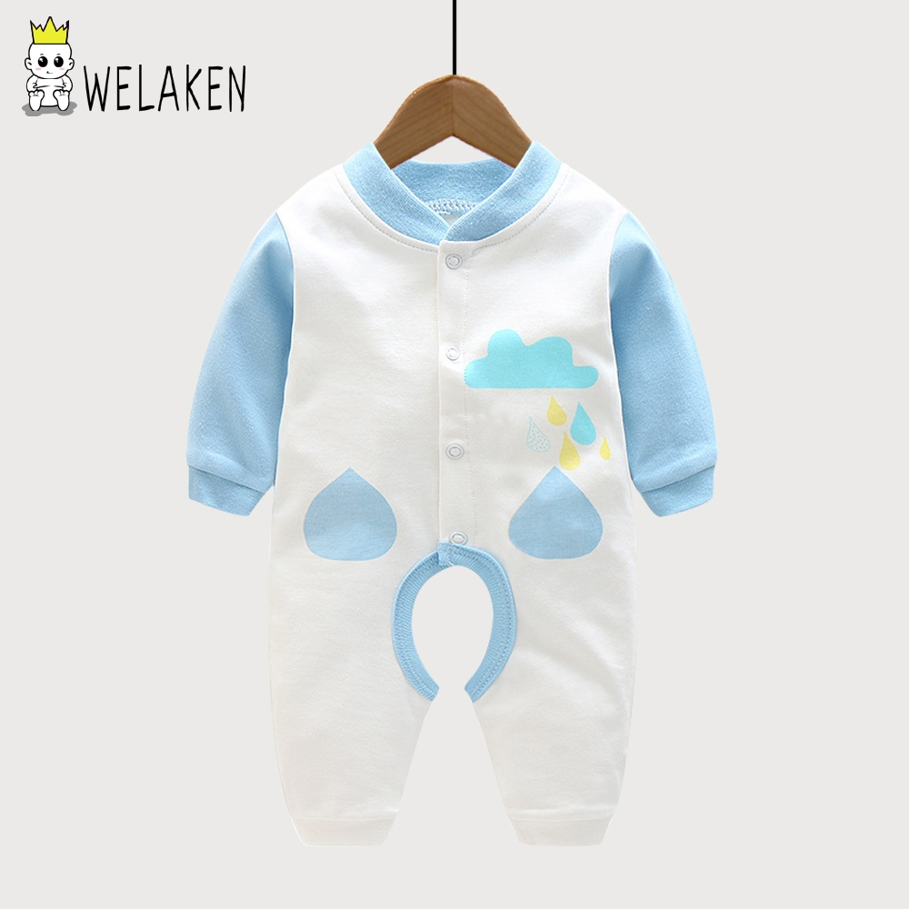 welaken Cute Cartoon Cloud Baby Rompers 2017 Lovely Autumn Spring Long Sleeve Newborn Baby Boys Girl Clothes Rompers One-pieces cotton baby rompers set newborn clothes baby clothing boys girls cartoon jumpsuits long sleeve overalls coveralls autumn winter