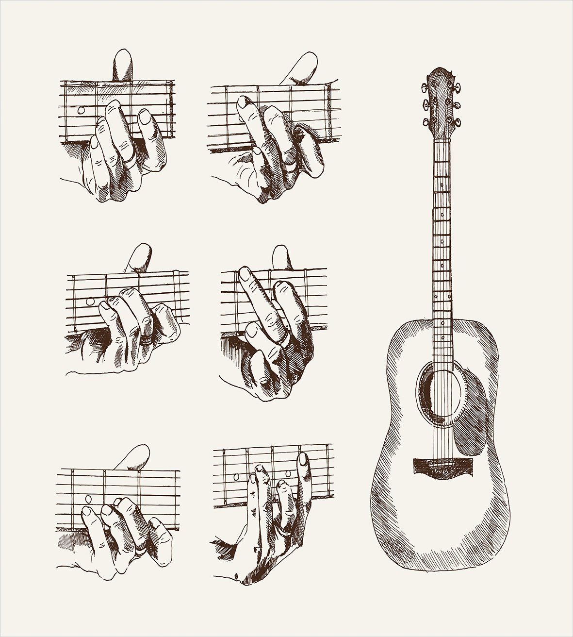 Guitar Duvet Cover Set Sketch Art Style Instrument And Chords