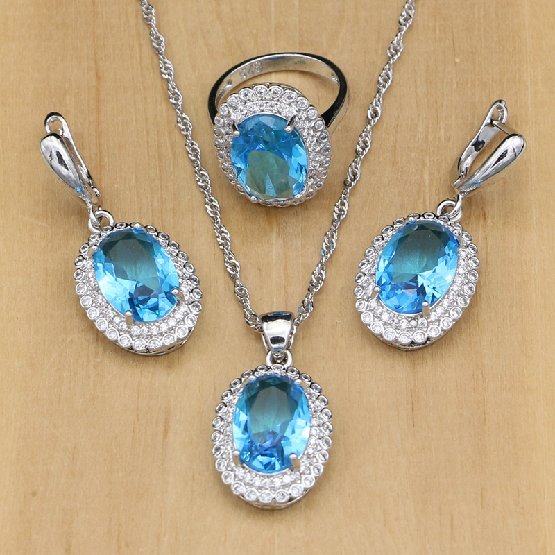 Sky Blue Crystal 925 Silver Jewelry Sets With Zircon Beads Party Earrings/Pendant/Ring/Necklace Set Drop Shipping
