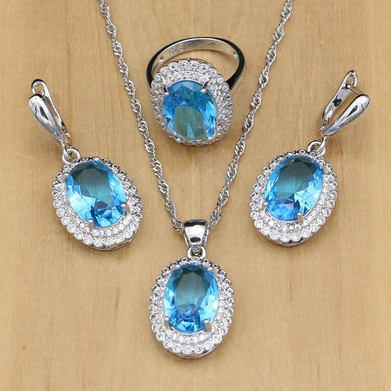 Sky Blue Crystal 925 Silver...