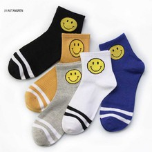 Harajuku Cute Emoji Patterned Socks Women Cartoon Cotton Cool Short Hipster Skateboard Ankle Funny white Female Sox