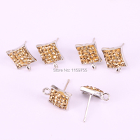 Wholesale 20Pair Pave Golden Color Rhinestone Square Shape Stud Earrings,Earring Supplies