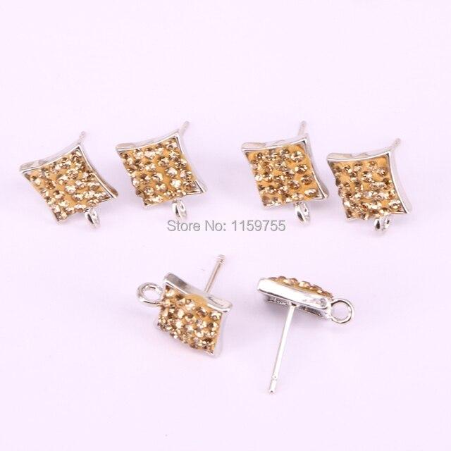 Wholesale 20Pair Pave Golden Color Rhinestone Square Shape Stud Earrings e6b9e28e3c57