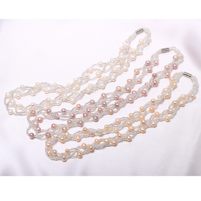 Gold Plated Natural Pearl Jewelry Set of Necklace and Bracelet