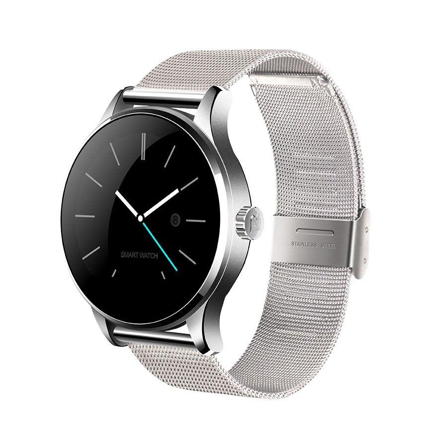 imágenes para K88h smart watch ronda ips de metal desmontable correa de frecuencia cardíaca podómetro compatible con iphone android teléfono