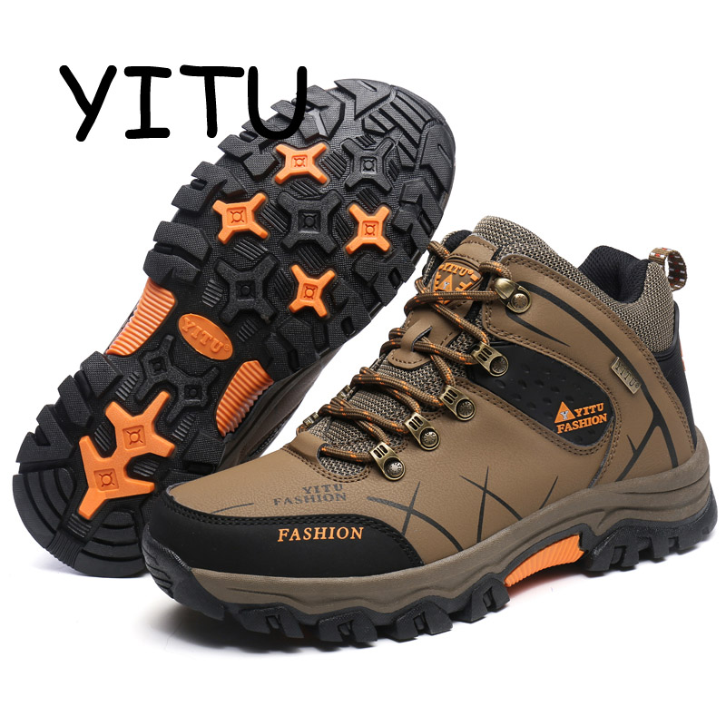 YITU 2018 Breathable Waterproof Hunting Boots Men Leather Winter Sneakers with Fur Mountian Climbing Walking Hiking Shoes Sports yitu breathable hiking shoes for men outdoor sports shoes for autumn hunting camping men climbing sneakers large size 39 44