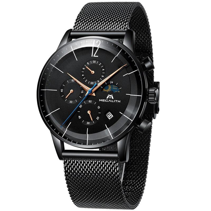 Image 5 - Megalito de moda relojes para hombre de azul de marca cara resistente al agua deporte cronógrafo de cuarzo reloj de pulsera para hombres reloj Relogio MasculinoRelojes deportivos   -