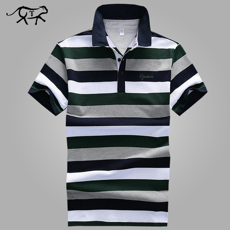 Classic Striped   Polo   Shirt Men Tops 2018 New Summer Anti-wrinkle Cotton Short Casual Striped Contrast Color Mens   Polo   Shirts 4XL