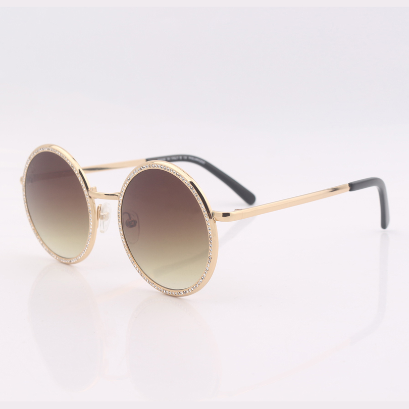 Legierung Mit Kristall Rahmen Dame Top Mode Co1 Frauen Qualität Runde Sonnenbrille xqAY8Og