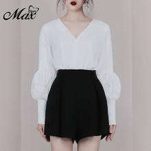 цена на Max Spri 2019 New Women 2 Piece Sets White V Neck Long Lantern Sleeves Drapped Top With Black Shorts Office Lady Stylish Sets
